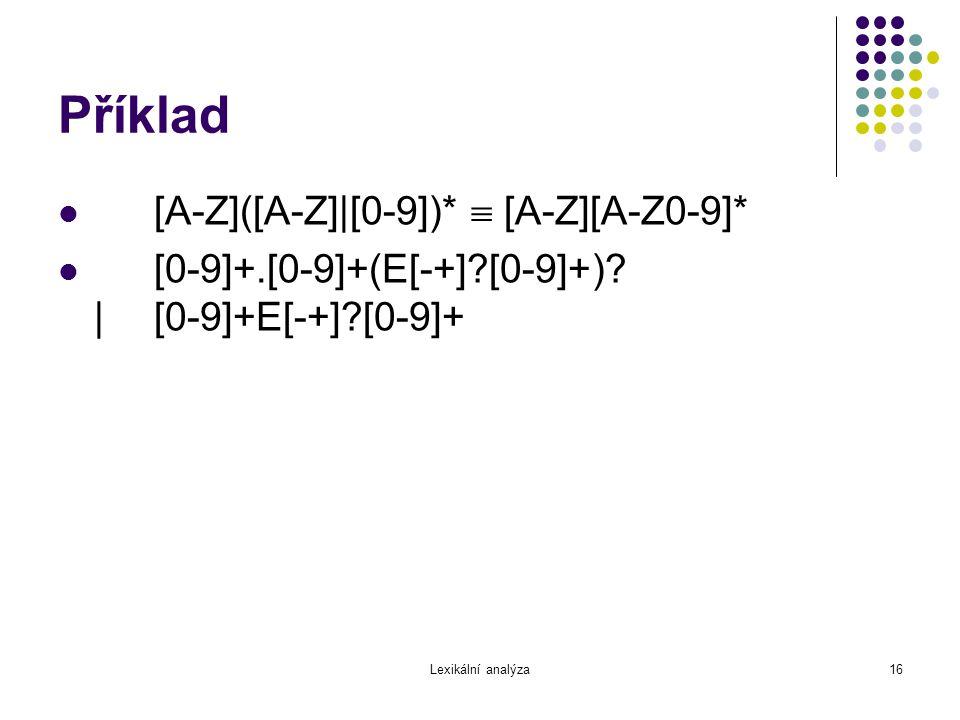 Příklad [A-Z]([A-Z]|[0-9])*  [A-Z][A-Z0-9]*